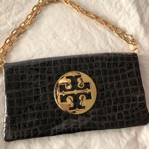 Tory Burch Brown Patent Leather Clutch